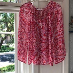 Trina Turk silk patterned long sleeve blouse.